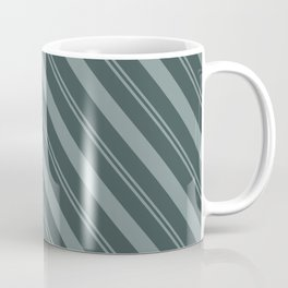 Scarborough Green PPG1145-5 Thick and Thin Angled Stripes on Night Watch PPG1145-7 Coffee Mug