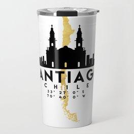 SANTIAGO DE CHILE SILHOUETTE SKYLINE MAP ART Travel Mug