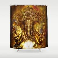 ganesha Shower Curtains featuring Ganesha by Giorgio Finamore