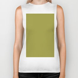 Pantone Golden Lime 16-0543 Green Solid Color Biker Tank