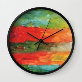 Painting, Modern Art contemporary. red blue yellow green burgundy beige gradient, gouache acrylic Wall Clock