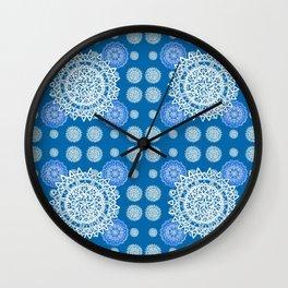 Bright Blue and Silver Kaleidoscope Mandala Pattern Wall Clock