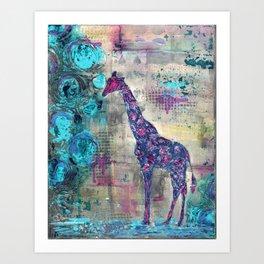 Majestic Series: Giraffe having a berry Art Print