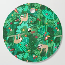 Sloths in the Emerald Jungle Pattern Cutting Board