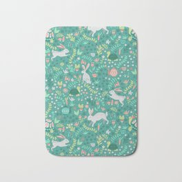 Spring Pattern of Bunnies with Turtles Bath Mat