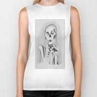 skeleton Biker Tanks featuring Skeleton by Ellen Norden