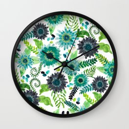 Turquoise Femme Flowers Wall Clock