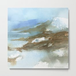 Wild Blue Mountains Abstract Watercolor Landscape Painting Metal Print