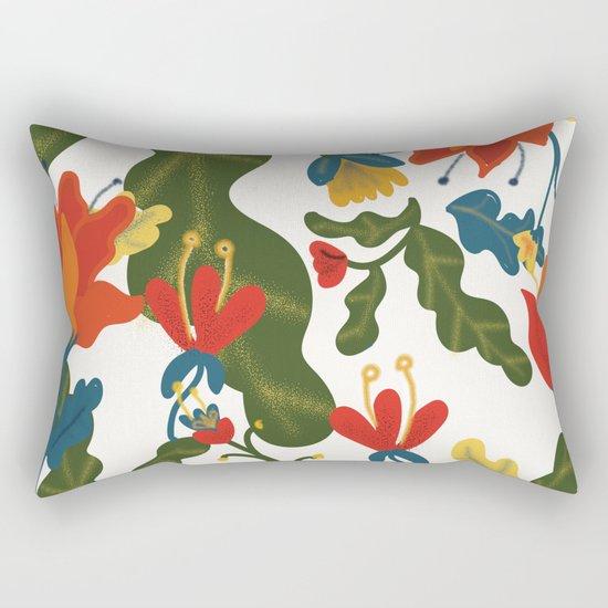 Tropical Flower Pattern Rectangular Pillow