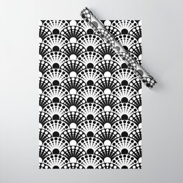 black and white art deco inspired fan pattern Wrapping Paper