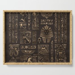 Egyptian hieroglyphs and deities - gold on wood Serving Tray