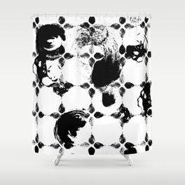Black and white leaves Shower Curtain