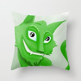 Kyrai - the green cat Throw Pillow
