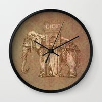 bastille Wall Clocks featuring Elephant Bastille by Bluepress