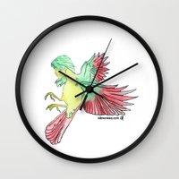allison argent Wall Clocks featuring Allison by Katherine_Montalto