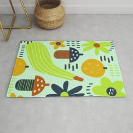 Colorful veggies and flowers Rug