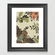 Fox & Pheasant Framed Art Print