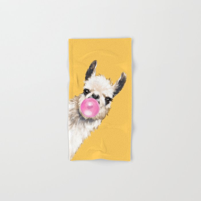 Bubble Gum Sneaky Llama in Yellow Hand & Bath Towel