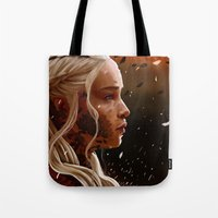 mother of dragons Tote Bags featuring Mother of dragons by cloudyh