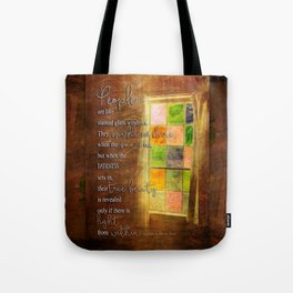 True Beauty Window with Quote Tote Bag