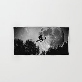 Flying witch   Moon witch   Witch cat   Witch broom   Halloween Hand & Bath Towel