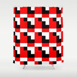 Red black step pattern Shower Curtain