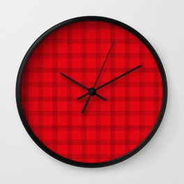 Black Grid on Bright Red Wall Clock