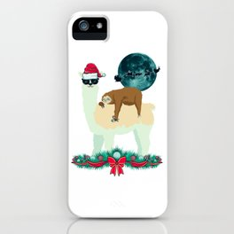 Llama Sloth Christmas Santa's Sleigh Silhouette In Front Of The Moon iPhone Case