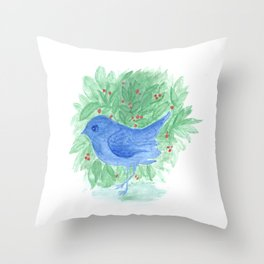 Blue bird and shrub watercolor painting Throw Pillow