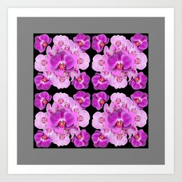 Black-Grey Color Abstracted Modern Purple Moth Orchids Art Print