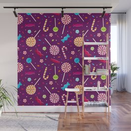Delightful Candy Pattern Wall Mural