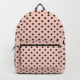 Small black polka dots on a pink beige background. Backpack
