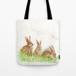 Hoppy Trio Bunnies - animal watercolor painting of rabbits Tote Bag
