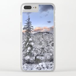 """""""Mountain light II"""". Snowy forest at sunset Clear iPhone Case"""