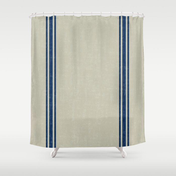 Vintage Country French Grainsack Blue Stripes Linen Color Background Shower Curtain By Shabbyhydesigns