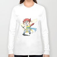 magic the gathering Long Sleeve T-shirts featuring Magic the Gathering Brimaz Cat Warrior Token by Deadlance