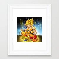 dragon ball Framed Art Prints featuring goku ball z design by customgift
