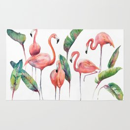 Pink Flamingos with some Strelizia Foliage Rug