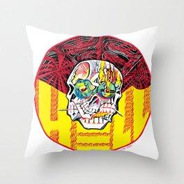 DEEP HELL TRI SKULL Throw Pillow