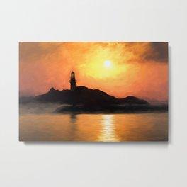 Lighthouse Sunset Impressionism Metal Print