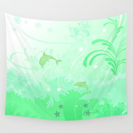 Dolphins Swimming Wall Tapestry