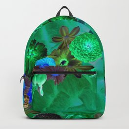 Flower explosion in green and blue Backpack