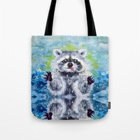 raccoon Tote Bags featuring Raccoon by Alina Rubanenko