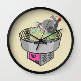 RABBITS AND ROOSTER ON COTTON CANDY MACHINE Wall Clock