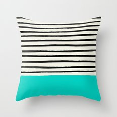 Aqua & Stripes Throw Pillow
