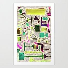 Modern Furniture Collage Art Print
