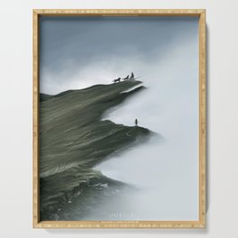 Foggy Landscape Digital Painting Serving Tray