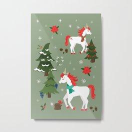 Christmas Winter Unicorn Pattern Metal Print