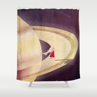 saturn Shower Curtains featuring Saturn Child by Annisa Tiara Utami
