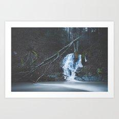 Emerging waterfall after the flood Art Print
